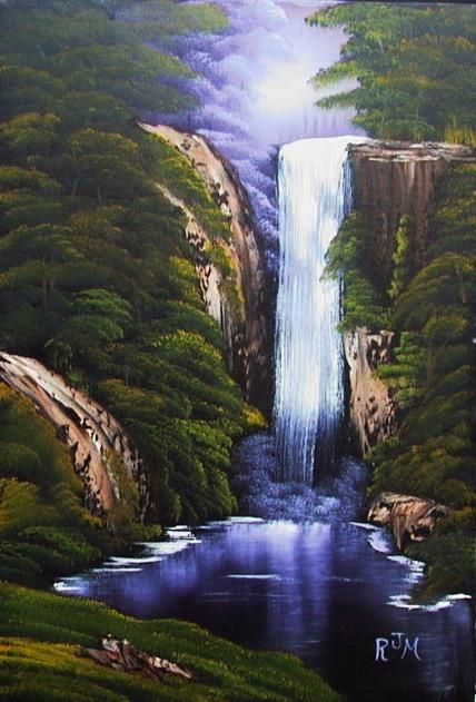 i love waterfall oil paintings...
