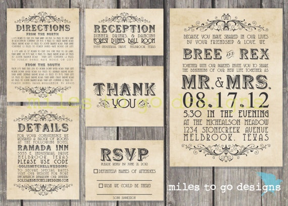 DIY Printable Wedding Invitation Rustic The by milestogodesigns, $60.00