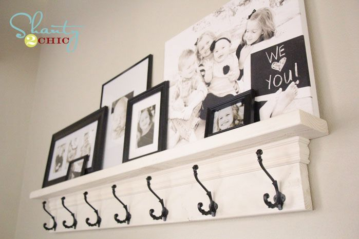 EASY DIY Entryway Shelf with Hooks from Shanty-2-Chic.com
