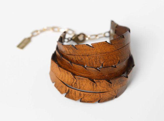 Hand Cut Triple Feather Leather Bracelet
