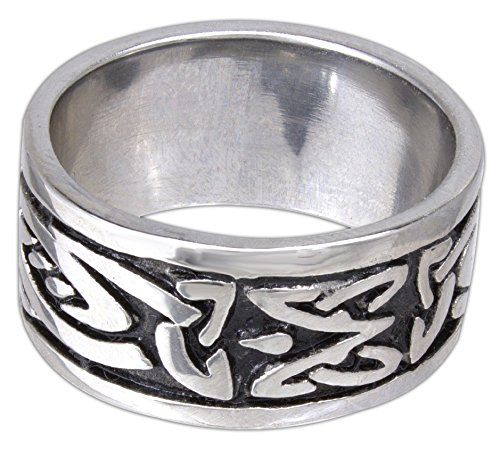 """Quantum Jewelry 316L Stainless Steel Mens Wide Band Celtic Knotwork Ring (14). High Quality 316 L Stainless Steel. Highly polished. ½"""" wide. 316 L Stainless Steel does NOT tarnish or rust. It is very hard and durable. It has a beautiful luster that can be buffed and polished to remove fingerprints or scratches."""