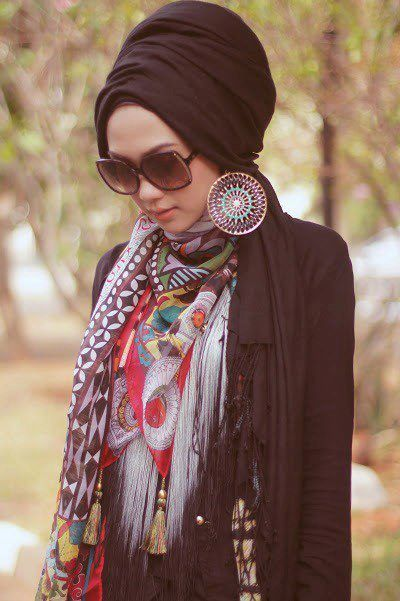 shades. big earrings. turban. neckerchief. love.