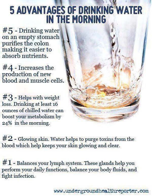 Five advantages of drinking water in the morning . . .  1. Water balances the lymph system. These glands help you perform your daily functions, balance your body fluids, and fight infection. . . .John Kremer / Book Marketing Tips