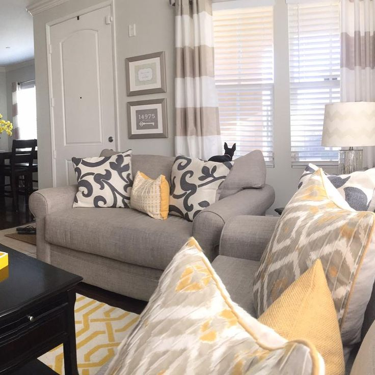 would love to incorporate yellow turquoise and gray in the living room.  love the curtains