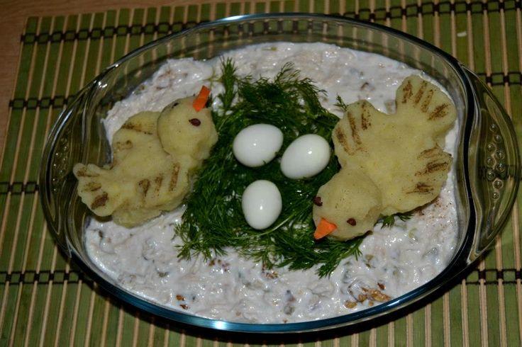 kuş yuvası - yoğurtlu kabak salatası #salata #yemek #tasarım