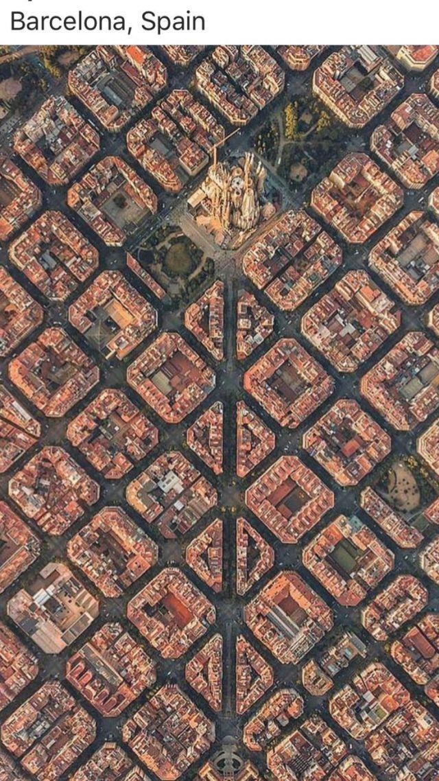 Luftbild von Barcelona mit Sagrada Familia in der Mitte #ilivespain #Barcelon …, #barcelon #barcelona #familia