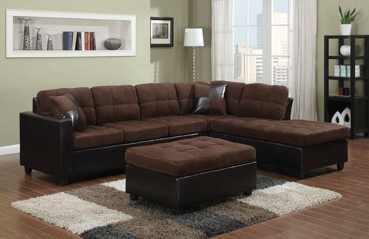 505655 2 pc Winston porter kathy mallory 2 tone chocolate fabric faux leather sectional sofa reversible chaise   – Perennials
