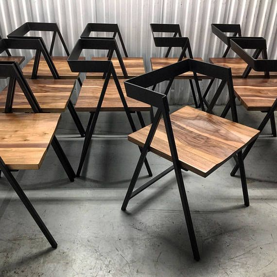 Handcrafted Wood and Metal Frame Dining Chair (Model Name: Walker)