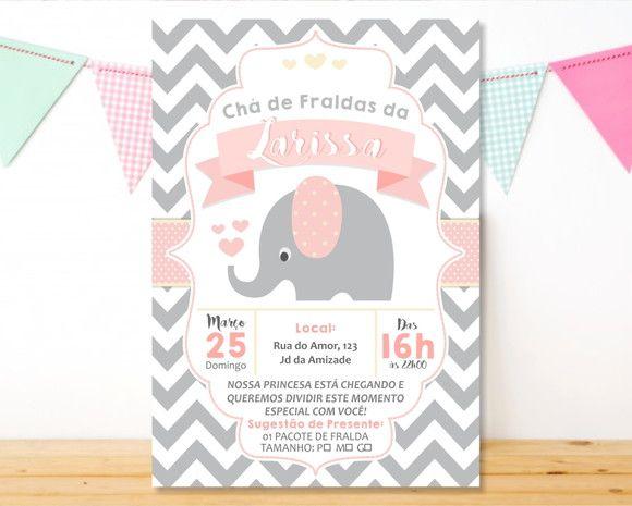 Convite Cha de Fraldas Elefantinho Impresso