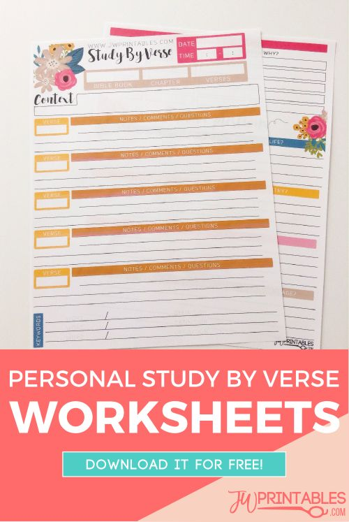 JW Personal Bible Study Sheets -Study By Verse