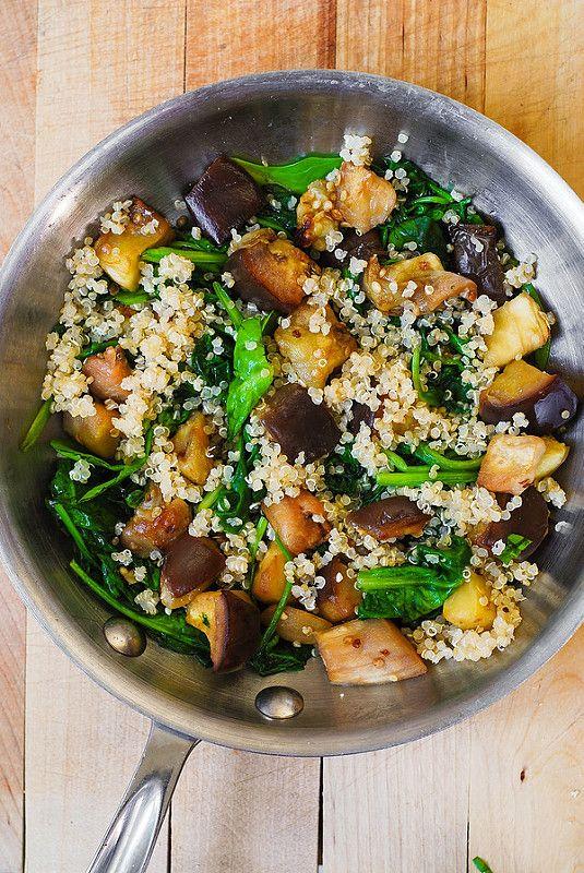 Spinach, Eggplant, and Feta Quinoa