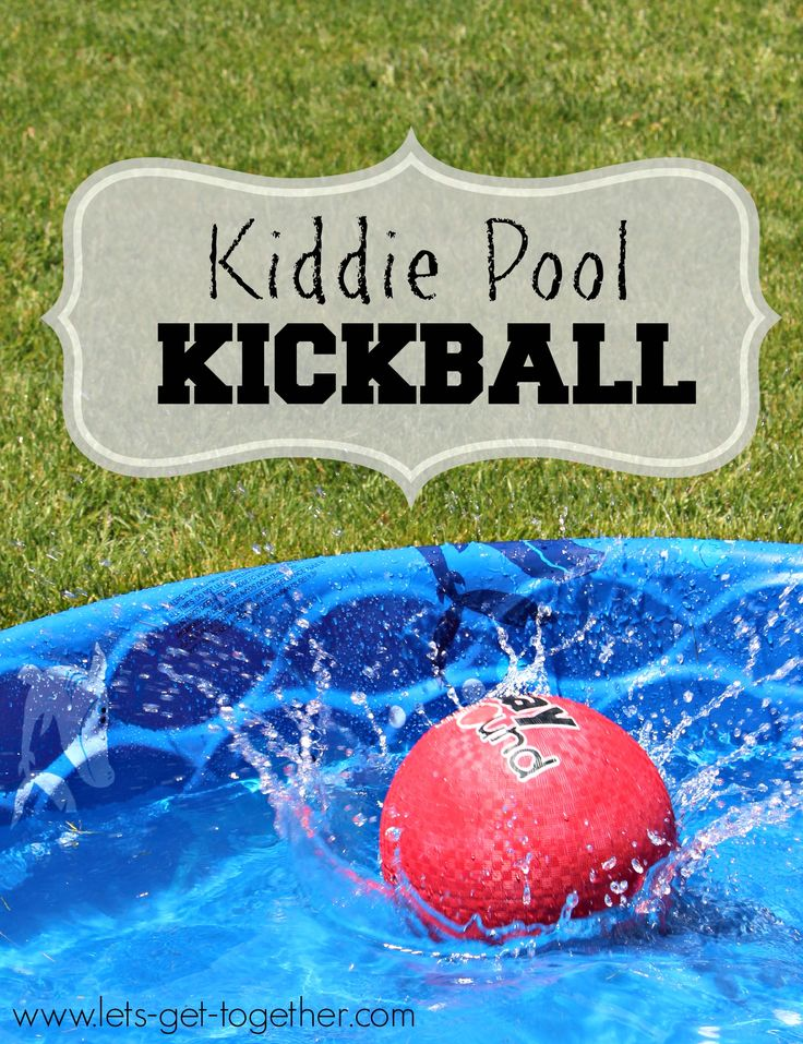 Kiddie Pool Kickball-one of our favorite ways to kick off the summer! Great for backyard BBQs, youth activities, or any summer party. #summer #groupgames www.lets-get-together.com