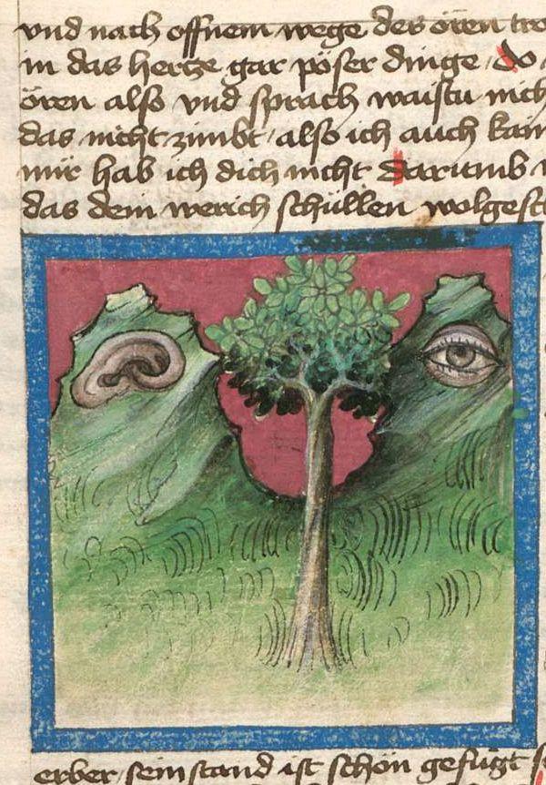 Demonagerie   Ulrich von Pottenstein: Cyrillusfabeln - BSB Cgm 254, ( S.I.) Bayern, 1430 The hills have ears.