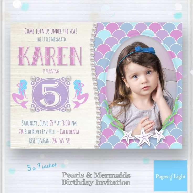 Best St Birthday Invitations Images On Pinterest Mermaids - Birthday invitation templates photoshop