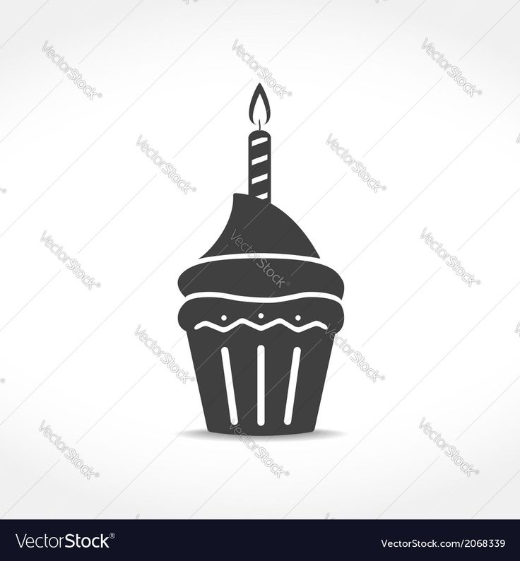 Birthday Cupcake Icon Vector Image by _human