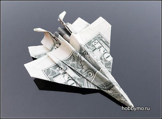 Фигурки оригами из денежных банкнот,оригами из купюр,оригами из банкнот,оригами из доллара,оригами из денег,оригами, самолет