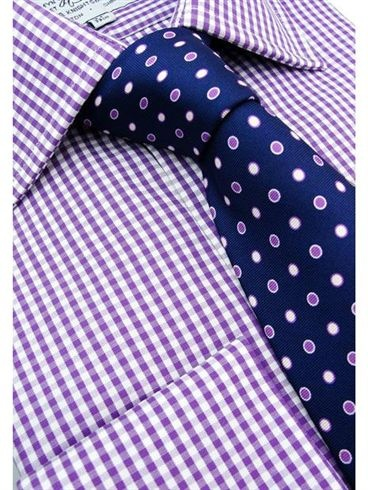 Small Purple Gingham Button Cuff Shirt - G26 | Gingham Button Cuff Shirts | Harvie & Hudson of Jermyn Street London