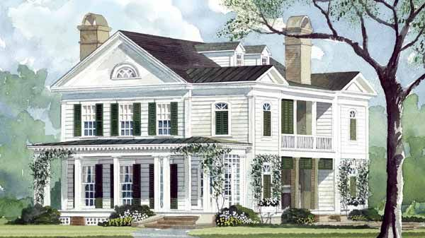This is a neat house plan i love the second floor balcony for Old southern style homes