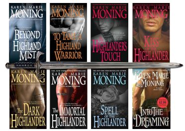 """These are up there with Gabaldon's Outlander series for me.  Karen Moning is like the Michelangelo of creating sexy leading male characters.  (I loved Barrons in her Fever series).  Of the Highlander books, my faves are """"Kiss"""" and """"Dark""""  (MUST be read in order) and then """"Tame.""""  It doesn't get much better than Drustan, Dageus and Grimm."""