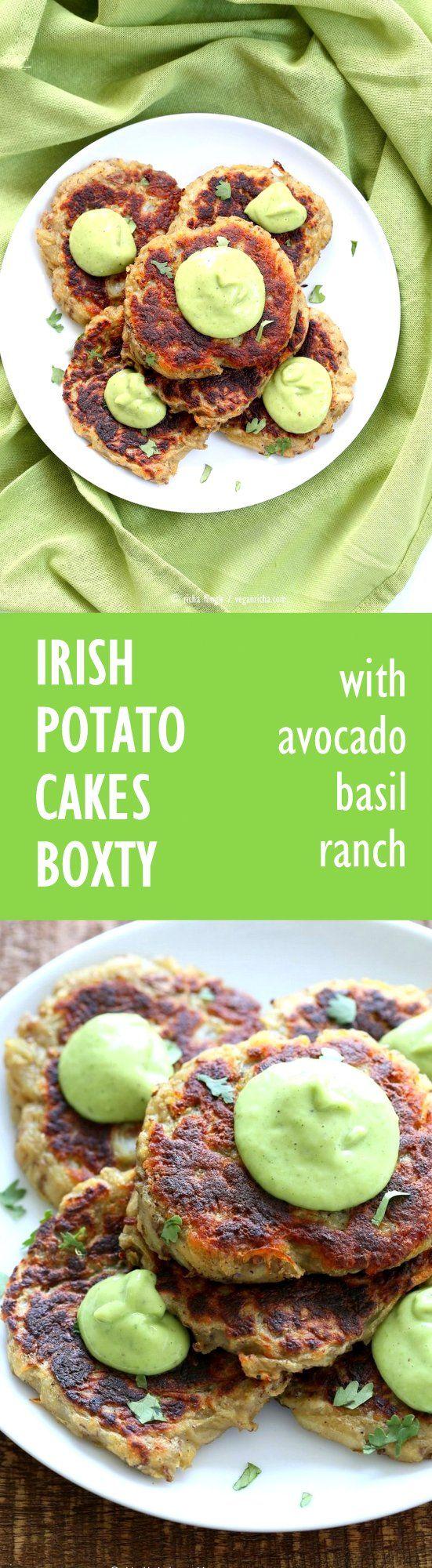 Traditional Irish potato cakes known as boxty, made eggless and vegan. Serve with avocado basil garlic ranch dressing. #Vegan #Soyfree #Recipe | VeganRicha.com
