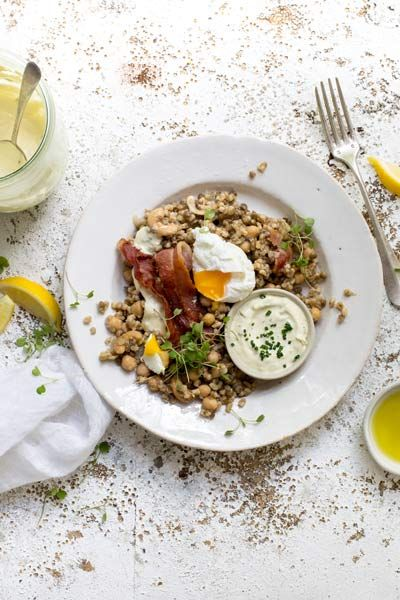 Nutty Grain Salad with Bacon, Egg and Avo Oil Mayo