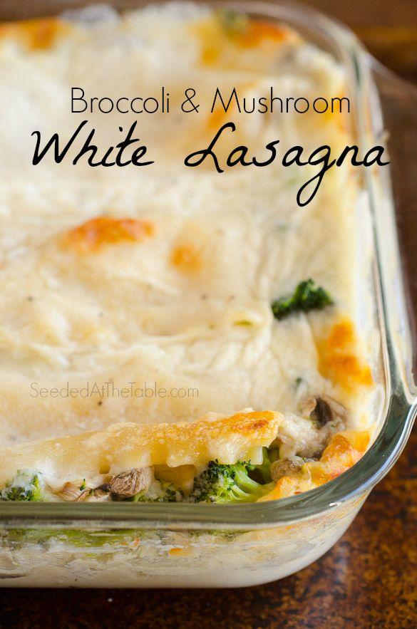 Broccoli and Mushroom Lasagna by SeededAtTheTable.com