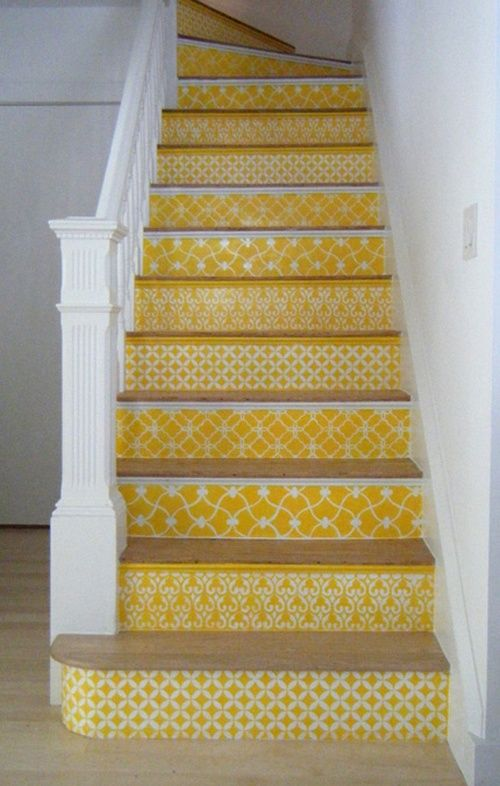 You can add pizzazz to stairs -with wall covering! I'd rather have the steps match in pattern, but it's a very fun idea.