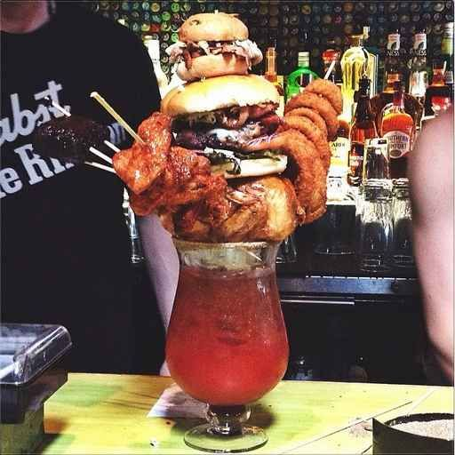 And finally, this $60 (!!!) Caesar, which comes with hamburgers, chicken wings, onion rings, a pulled pork mac & cheese, and a brownie, and you can only order it if you share it with at least one other person, because OTHERWISE IT WOULD BE EXCESSIVE.