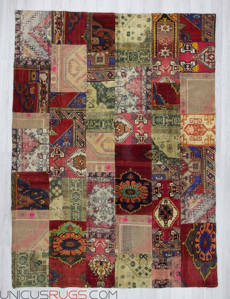 "Oversize vintage patchwork rug made from hand-knotted Turkish rug pieces and backed with good quality cotton fabric as reinforcement. In very good condition. Width: 8' 8"" - Length: 11' 8"" PATCHWORKS"