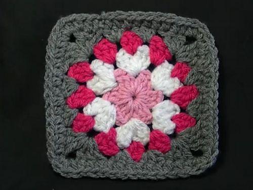 Not So Granny Square, free pattern by bobwilson123.  The 2nd round (white) looks like little hearts  :-)     . . . .   ღTrish W ~ http://www.pinterest.com/trishw/  . . . .  #crochet #motif
