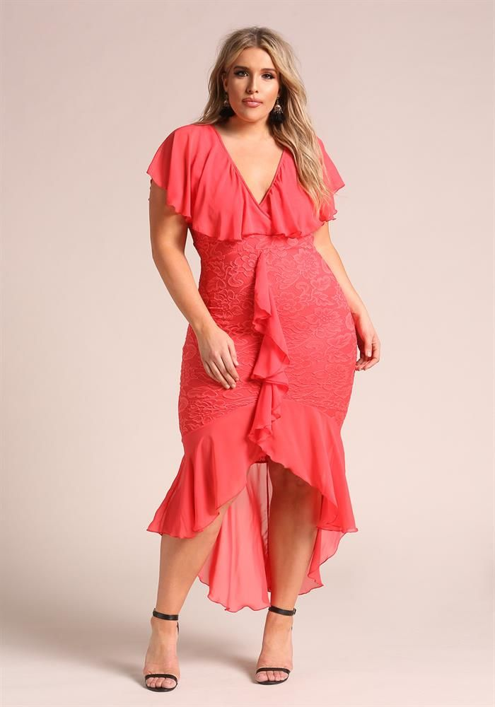 Plus Size Clothing | Plus Size Chiffon Lace Waterfall Ruffle