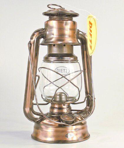 Original DIETZ Sturmlaterne, altdeutsch verkupfert (bronziert), Höhe 25,4 cm