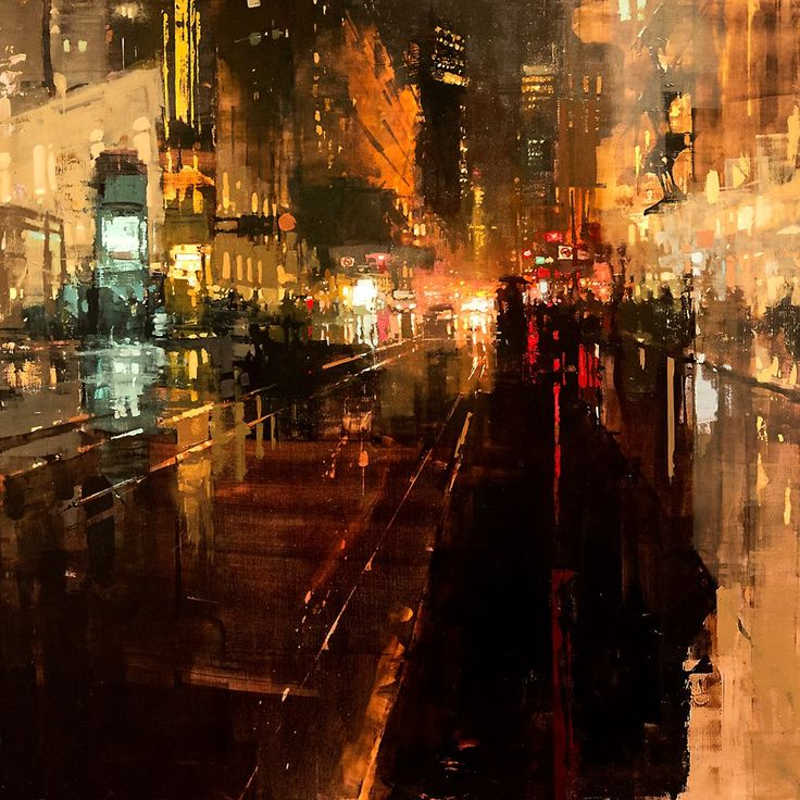 """Jeremy Mann - Artist""""Another Night Through Storms"""" Oil on Panel 36 x 36 inches. 2015More art here."""