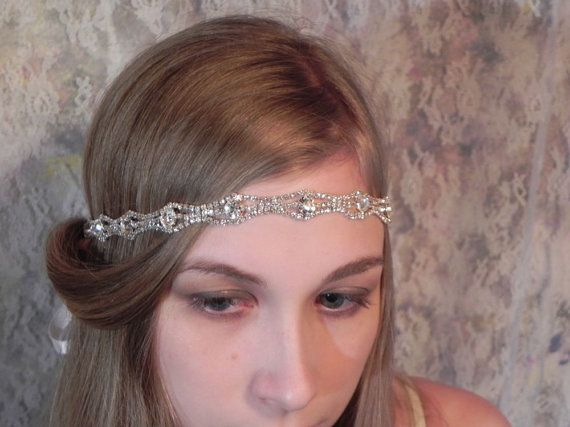 1920s RHINESTONE HEADBAND Art Deco Style Wedding Headpiece, Bridal Headband via Etsy
