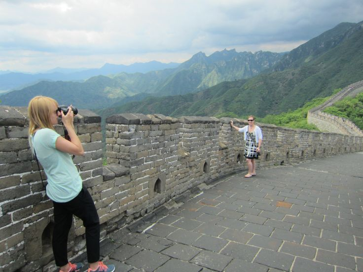 M posing for J on the Great Wall near Beijing