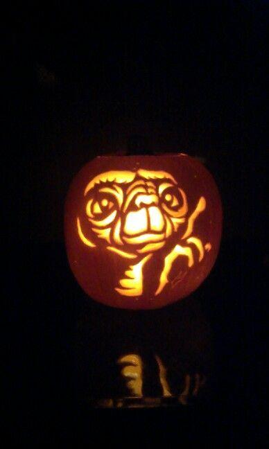 ET carved in pumpkin