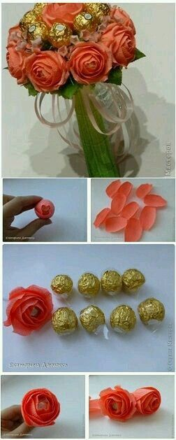 Ramillete de flores de papel y chocolates