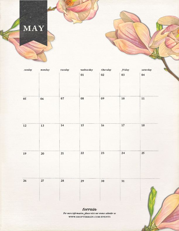 Download a May calendar on The BULLETIN at Terrain