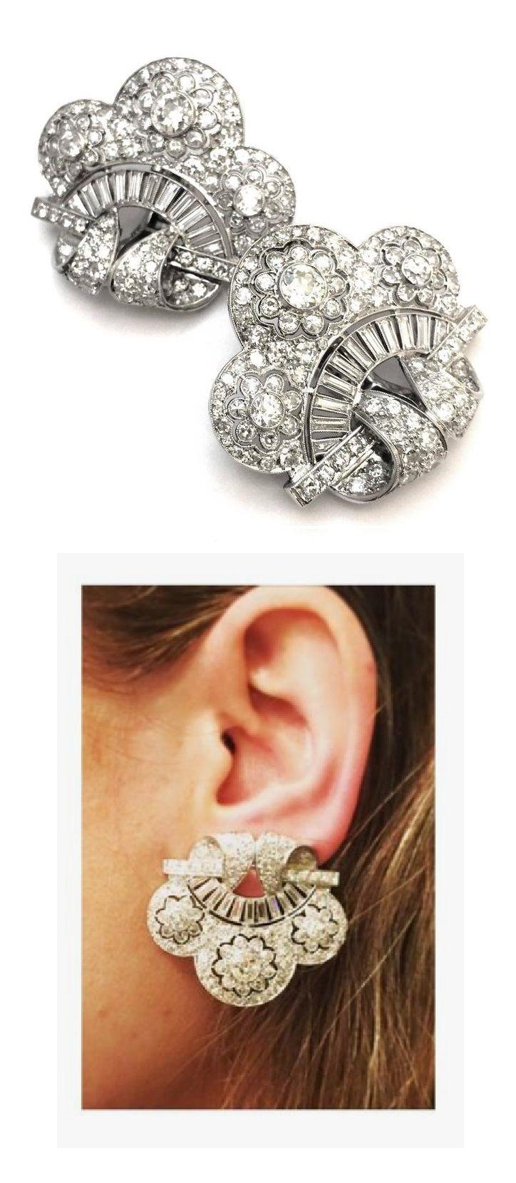 A pair of Art Deco platinum and diamond ear clips, circa 1925.
