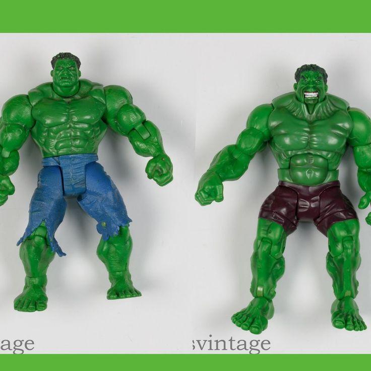 """Incredible Hulk Action Figure Lot 6.5"""" 2002 Movie Smash Crush & 7"""" 2003 Punching #Marvel #incrediblehulk #avengers #itisvintage #hulk"""
