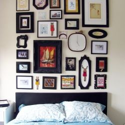 This site has some great Tutorials: Shrimp Salad, Headboards Ideas, Black Frames, Pictures Collage, Interiors Design, Galleries Wall, Bedrooms, Frames Collage, Pictures Frames