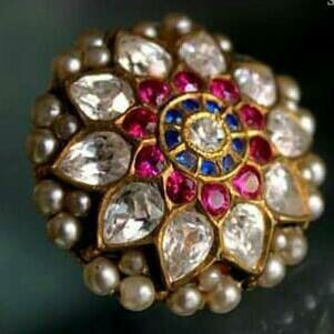 Ring - ruby, sapphire and uncut diamonds