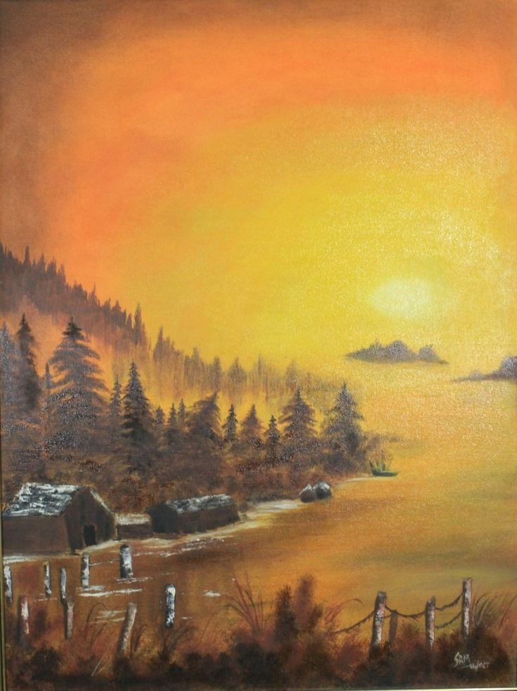 SUNRISE ON MOUNTAIN SLOPE Oil Painting SIZE: 19 INCH X 25 INCH,  OIL PAINTING ON  CANVAS WITH BROWN FRAME