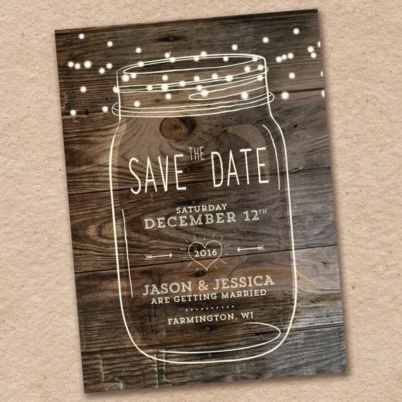 Mason Jar Save-the-Date Rustic Woodland Design by InvitingLeeLee