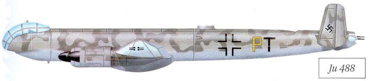 Junkers Ju 488. fue inicialmente para ser accionado por cuatro motores radiales BMW 801J. Las versiones posteriores fueron para ser accionado por cuatro Jumo 222. Los dos primeros prototipos, Ju 488 V401 y V402 tenido secciones de fuselaje construido en la fábrica Latécoère en Francia, mientras que los otros componentes se preparaban en las fábricas Junkers en Alemania. Los Ju 488 V401 y V402 fuselajes se completaron en 1944, pero fueron dañadas por la resistencia francesa el 16 de julio…