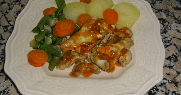Pollo al ajillo con verduras al vapor