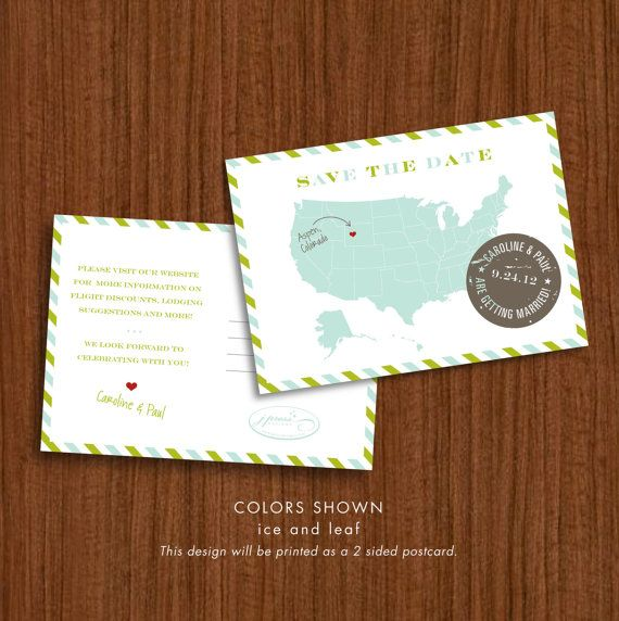 Vintage postcard save-the-dates with heart to mark wedding city