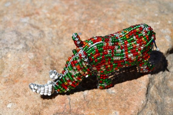 Multicolored Beaded Rhinoceros African wire by akwaabaAfrica, $15.00