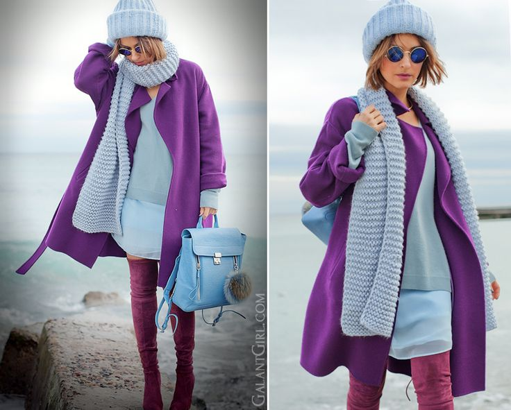 total blue outfit, galant girl, 3.1 Phillip Lim Pashli backpack, max mara wool purple coat @GalantGirl