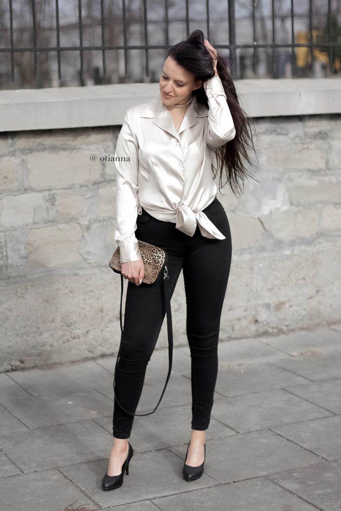 atynowa / Atłasowa koszula damska   seksowna kobieca stylizacja satin shirt, satin shirts blouses   outfit look, blog modowy silk blouses, jedwabna koszula